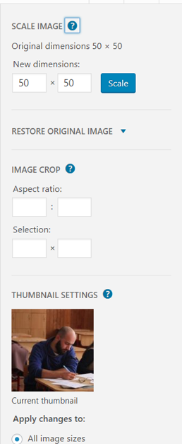 Wordpress Image Edit