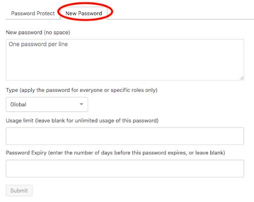 new wordpress password
