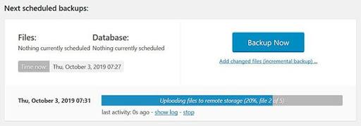 UpdraftPlus Backup Now Image