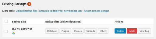 UpdraftPlus Existing Backups Image