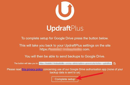 Updraftplus Set Up Image