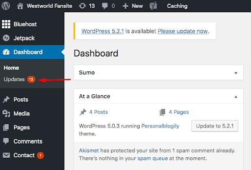 Wordpress Updates dashboard
