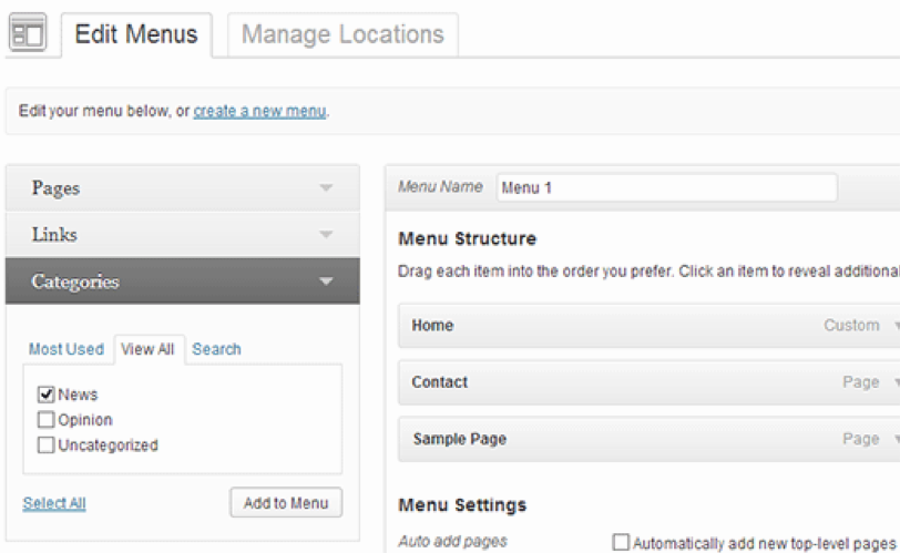 Wordpress Edit Menus Image