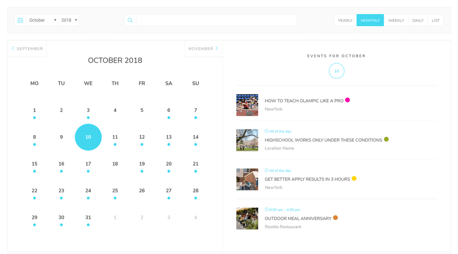 creating events mondern events calender
