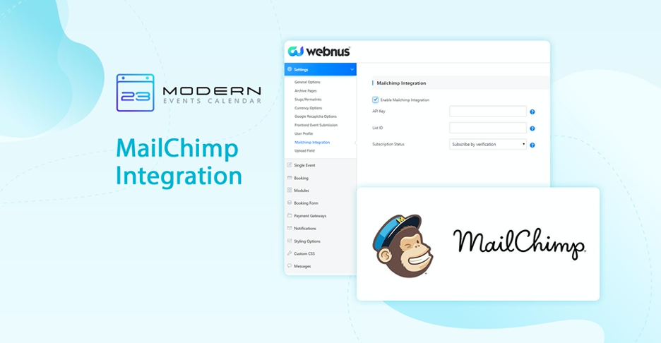 modern events calender mailchimp integration