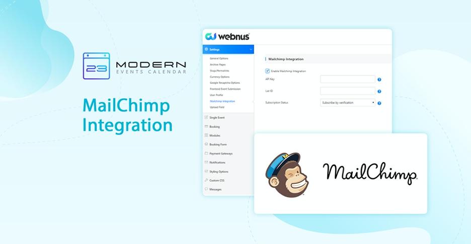 modern events calender mailchimp integration