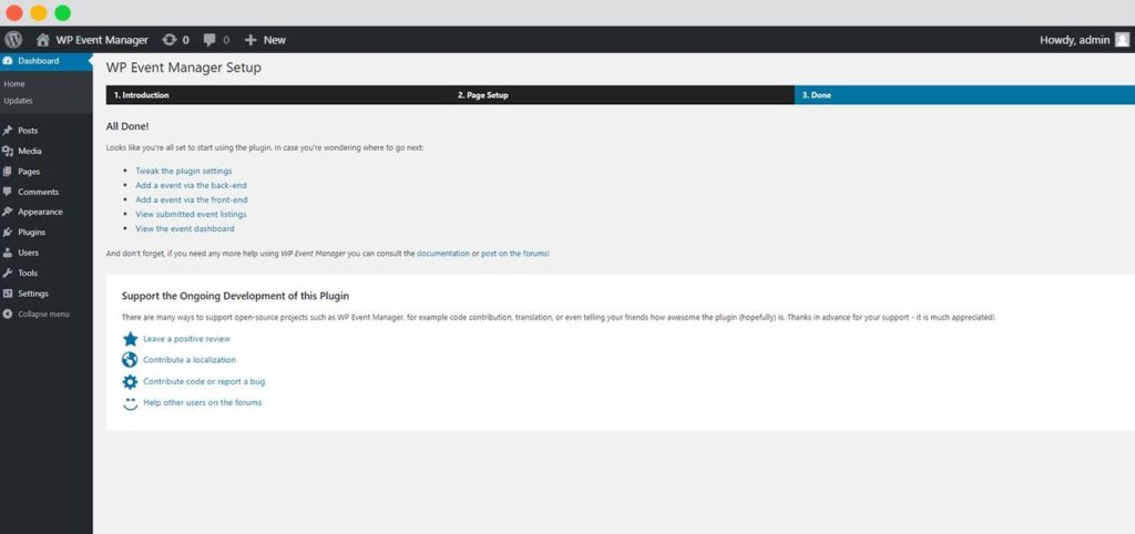 setting up wp events manager