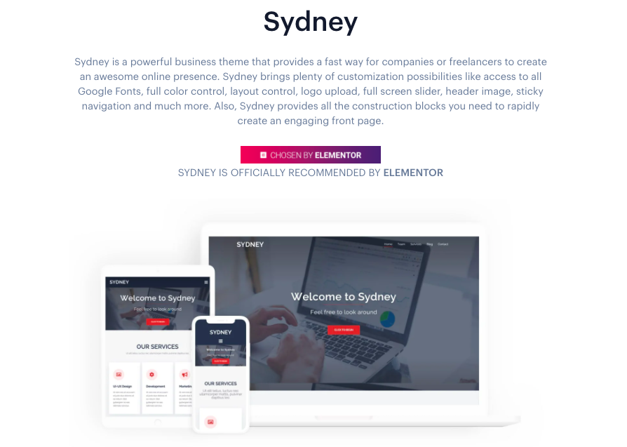 Sydney wordpress template