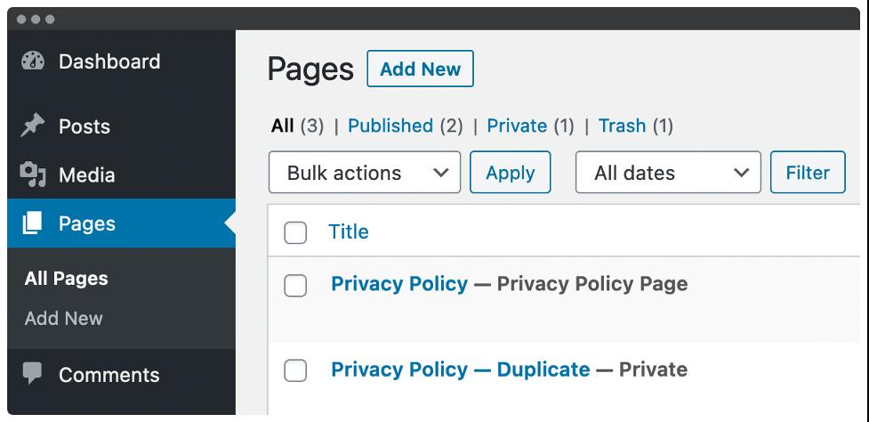 block editor private page