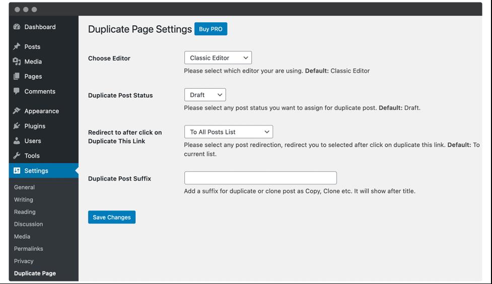 duplicate page screen wordpress