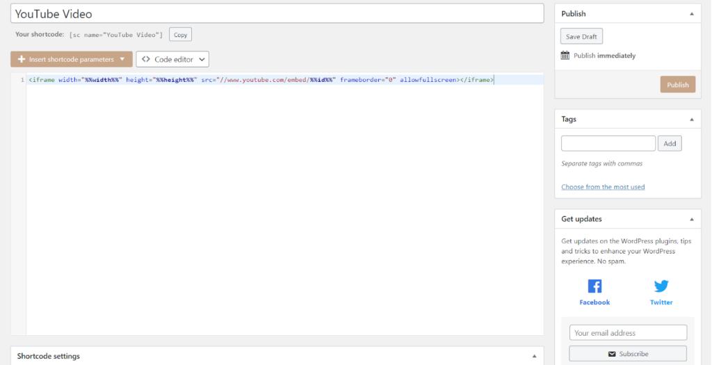 creating shortcode