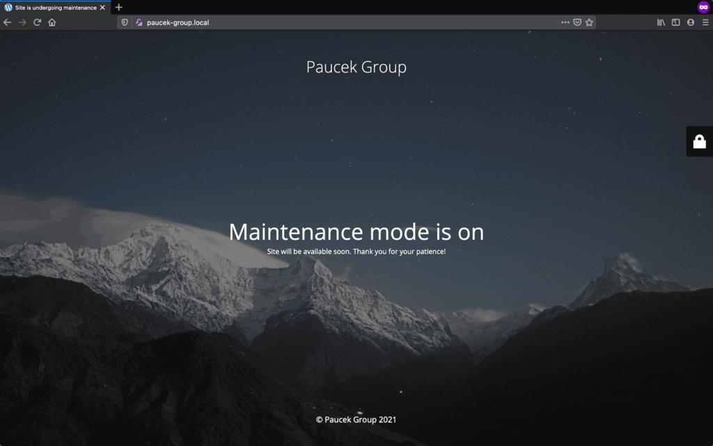 wordpress maintenance page