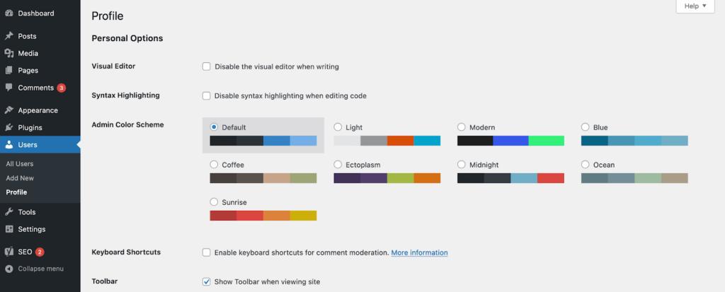 user options wordpress dashboard