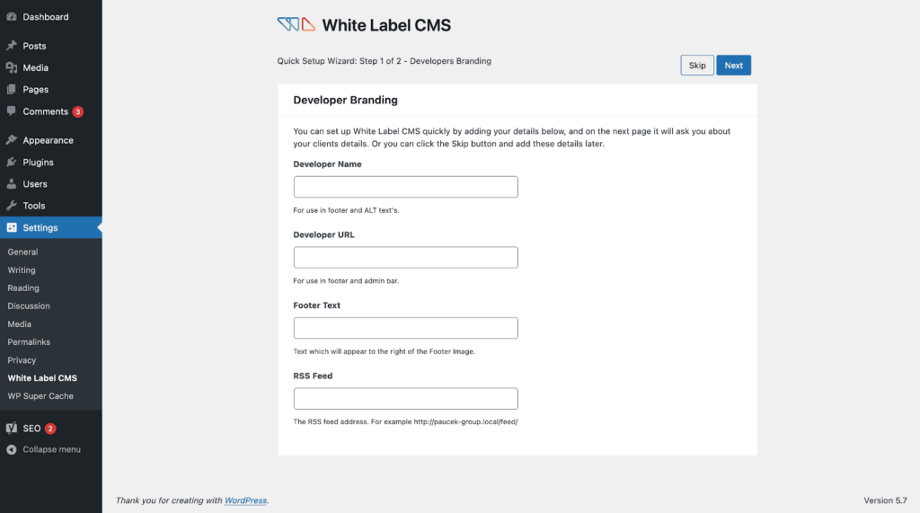 white label cms set up wizard