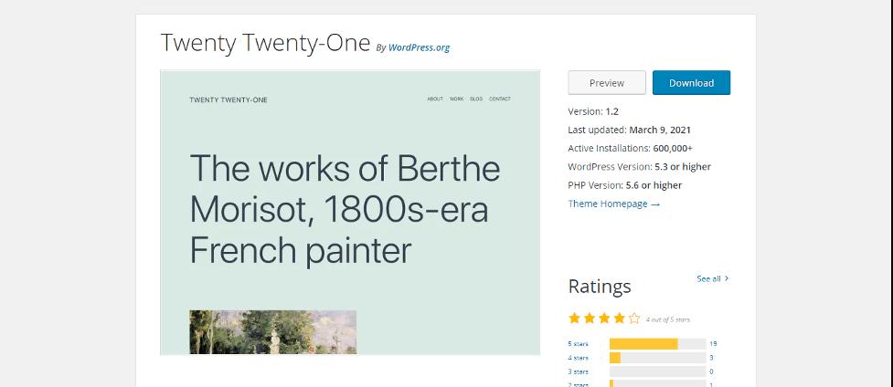 twenty twenty-one wordpress theme