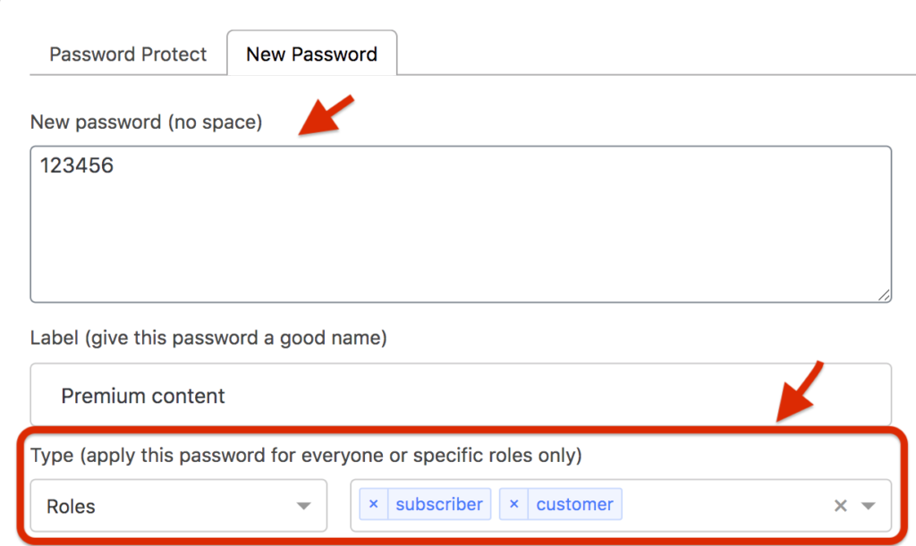 new password tab