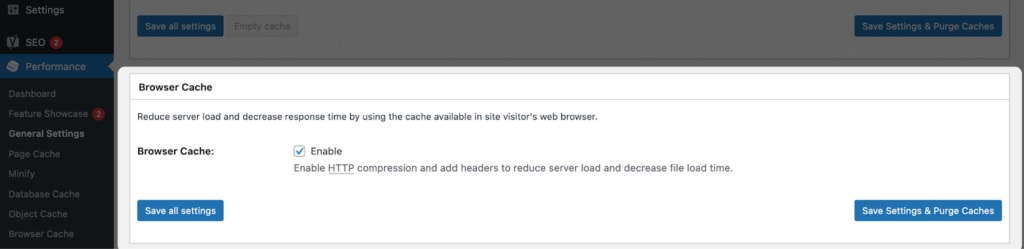 browser cache settings