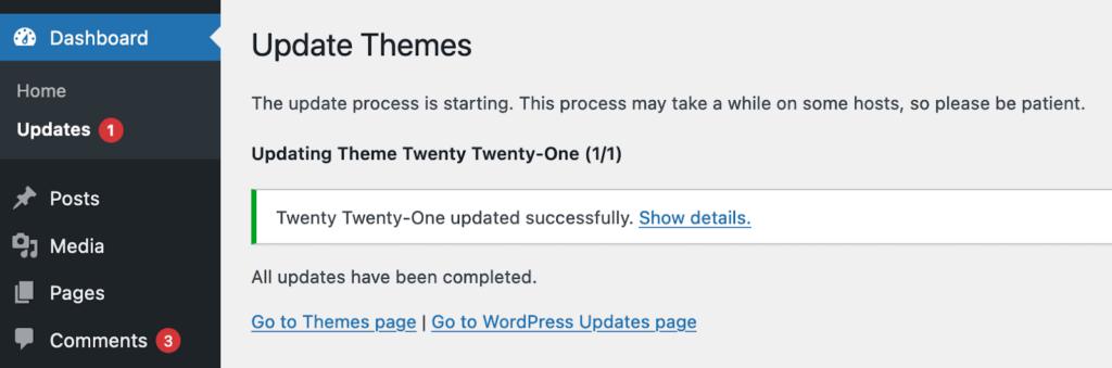update theme success screen