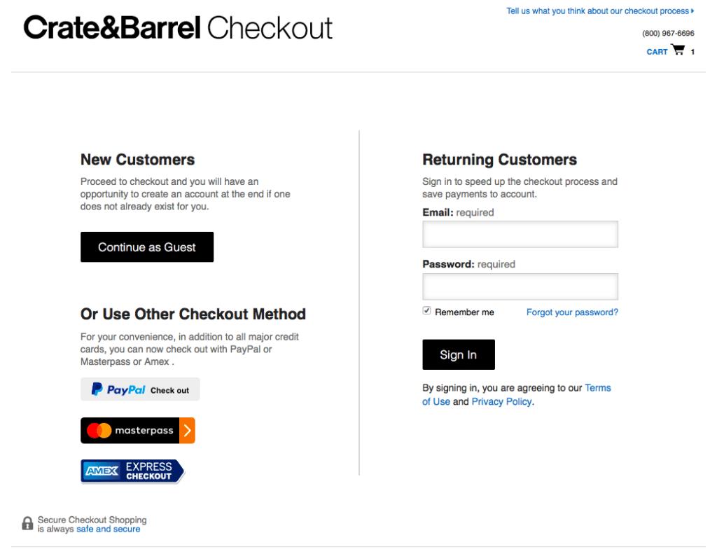 website checkout