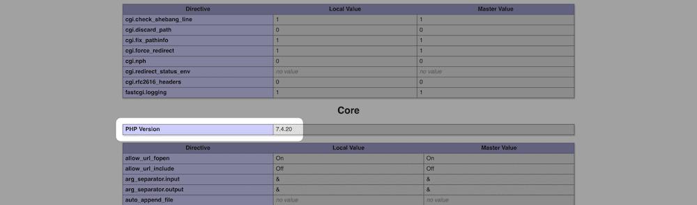 php core info