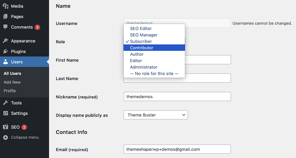 set user role